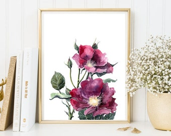 Wall decor Purple flowers print wall art nursery flowers digital print Watercolor flower print printable floral wall art decor room  poster