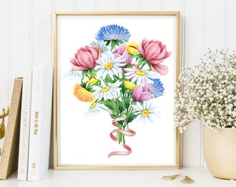Flowers bouquet watercolor print floral printable room decor home living room bedroom wall art mother gift mix asters peony chamomiles print