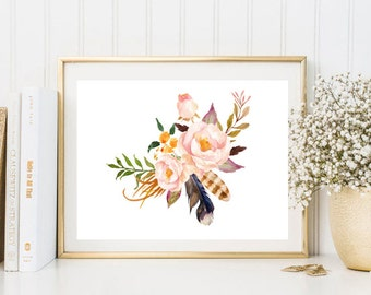 Light peony watercolor print flowers floral feather watercolor wall art print printable floral print watercolor poster bedroom kitchen decor