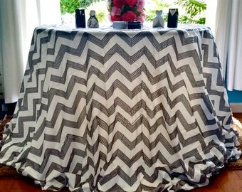 """Sale! 90""""X156"""" (8ft) Black and White sequin tablecloth, Black and white chevron sequin tablecloth"""