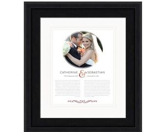 Wedding Vows Framed, Framed Wedding Vows, Framed Vows, 1st anniversary gift , Wedding Vow Art, 5th Anniversary Gift, Framed Wedding Vows