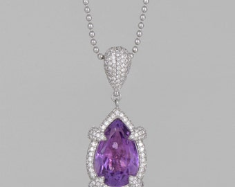 2 CT AMATIST 5 CT gem diamond necklace