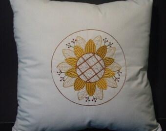 Primitive Sunflower Pillow