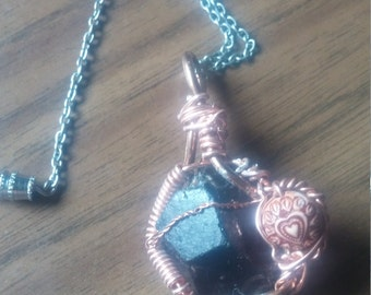 black tourmaline healing crystal pendant