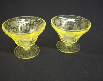 1932-1935 Hazel Atlas Glass Co. Florentine No. 2 Yellow Sherbets (2)