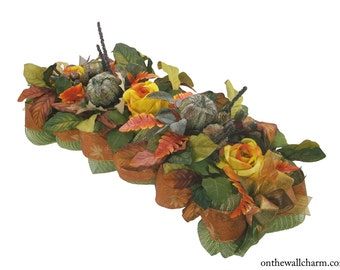 Deco Mesh and Roses Fall Harvest Centerpiece
