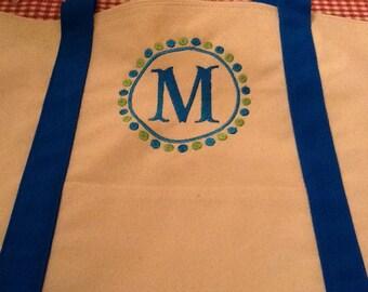 Monogrammed Blue Tote Bag