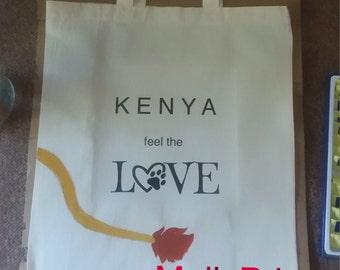 """Tote bag / Cotton tote bag """"Kenya feel the Love"""""""