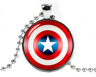 Captain America shield Necklace Pendant Captain America Jewelry Fandom Jewelry