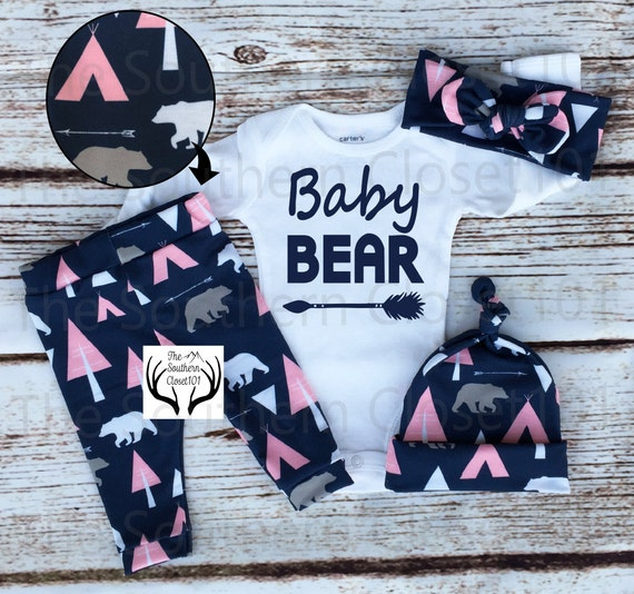 Baby Girl Coming home OutfitBaby BearBaby GirlWhie and Pink ArrowsTeepees BearsCountry OutfitNewborn Girl Coming Home Outfit