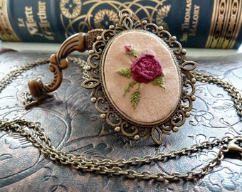 Dark Red Rose Embroidered Frame Necklace in Antique Bronze