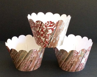 Red Pallet Wood Style Cupcake wrappers