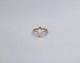Yellow gold diamond shape ring