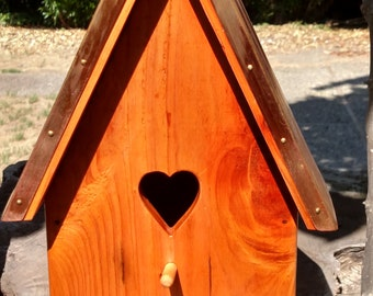 Redwood Birdhouse with Copper Roof