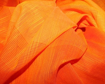 RESERVED! Amazing vintage retro 70s orange pair of Curtain lengths with beautiful luster. Made in Sweden Scandinavian.