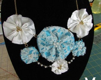 SALE OOAK Satin and Lace Handsewn Fabric Flower Statement Necklace