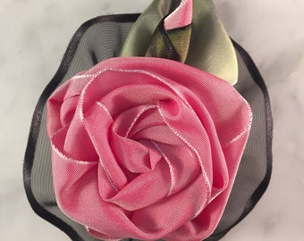 Pink and Black Ribbon Rose Corsage or Hair Accessory