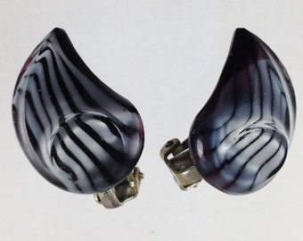 Vintage Balck and Gray Striped Moonglow Flair Clip On Earrings