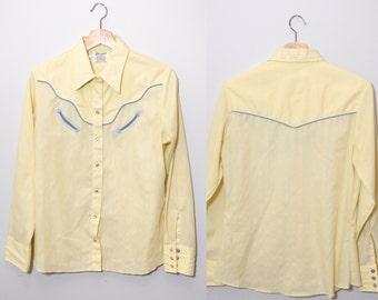Vintage 1960's Yellow Wrangler Long Sleeve Shirt | Western Shirt | Pearl Snaps | Size Ladies Medium