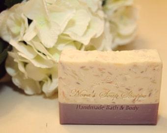 Confetti Blossom Handcrafted Cold Process Soap with Aloe Vera Juice, Cocoa Butter and Avocado Oil.