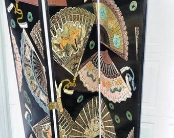 On Sale Asian 3-Panel Hand-painted Fans Room Divider