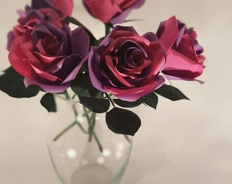 Dual-Colored (Purple & Pink) Handcrafted Paper Roses (Half Dozen)