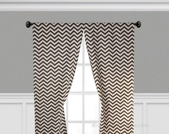 Chocolate Brown Curtains Chevron Zig Zag Window Treatments Stripe Custom Drapes Living Room Dining Room Drapery Panels Set
