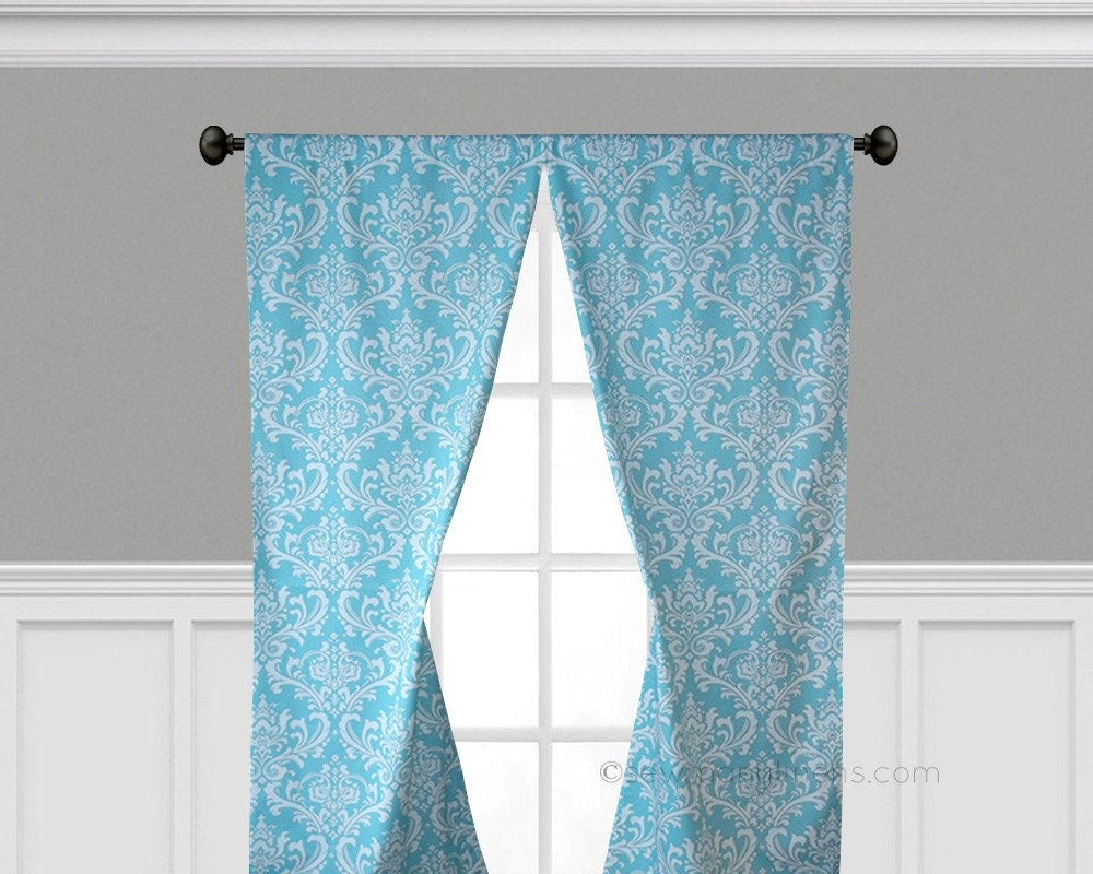 aqua blue curtains floral damask window by sewmanylinens on etsy