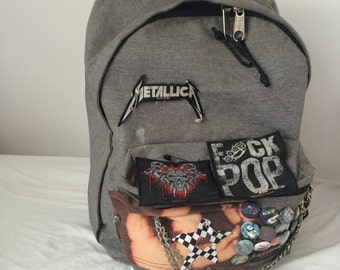 Custom Punk Backpack, grey, with Patches & Buttons