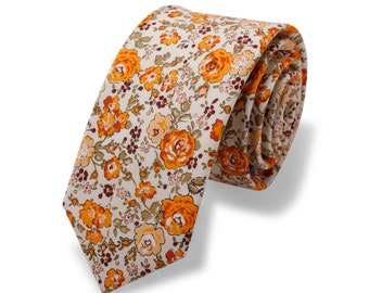 Wedding Tie.Yellow Floral Tie. Vintage Floral Tie. Skinny Mens Tie