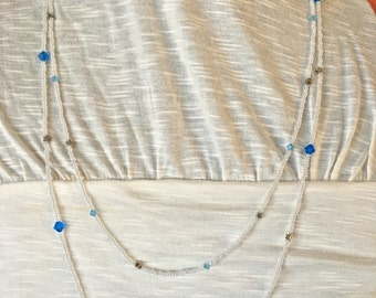Long Multi layered Swarovski and seed bead necklace