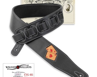 Walker & Williams Black Leather Padded Guitar Strap Tooled Pair of Aces CVG-85