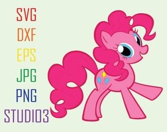 My Little Pony Pinkie Pie Svg Files, Svg, Dxf, Eps, Studio 3, Png, Jpg, Silhouette Studio,Cricut Files,Silhouete Cameo, Cutting Files