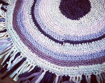 Recycled bed sheet hand crafted Rag Rug.