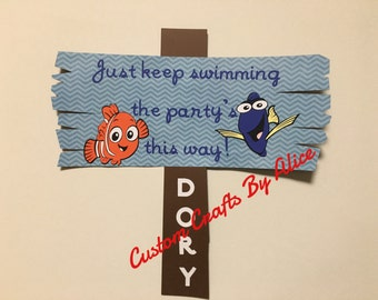 Just Keep Swimming, the Party's this way! Dory party sign