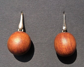 osage orange and Silver earrings