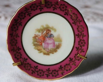 REDUCED TO CLEAR Limoges French Miniature Plate  Lovers