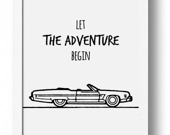 Let The Adventure Begin, Adventure, Cabriolet, Old Car, Art Poster, Black And White Print, Instant Download