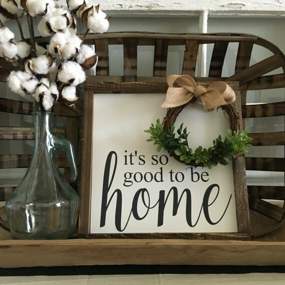 So Good to be Home Sign, Wood Framed Sign, Rustic Decor, Farmhouse Style Decor, Handwritten Font, Gallery Wall
