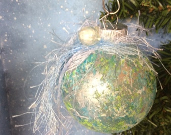 Teal & Lime Marbled Christmas Ornament