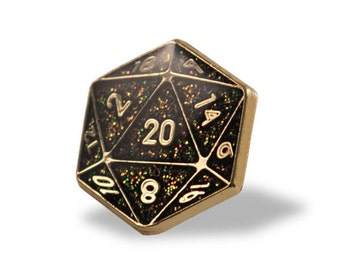D20 Lapel Pin (Black & Gold)
