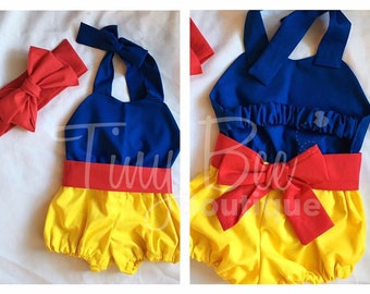 Snow white inspired romper