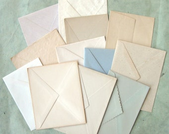 Vintage Unused Larger Envelopes Lot Nicely Aged & a Little Bit Grungy Soft Faded Colors (12)