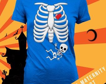 Skeleton baby (peace sign) pregnancy announcement halloween shirt, maternity halloween, halloween maternity, not a maternity shirt-CCB-210