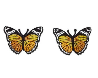 2 pcs./set, Honey Yellow Butterfly Patch, embroidery, insect iron-on/sew-on, 5 x 3.5 cm.,moth motif appliques, clothing & accessories (M-83)