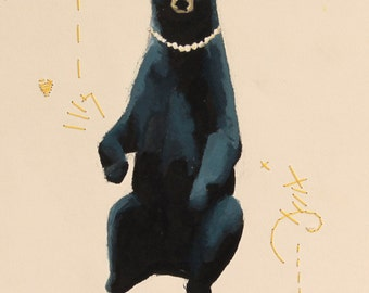 Painting of Bear Wearing Pearl Necklace with Embroidery
