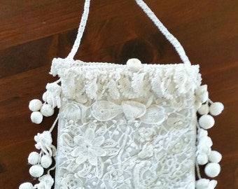 Heirloom Bridal Bag In Irish Crochet