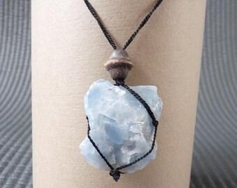 11# Blue Calcite Stone Black Cord Necklace