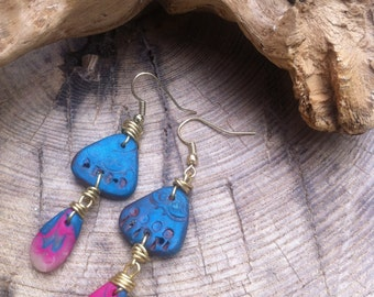 Boho chic antique look beads dangle earrings/Valentine's gift/blue tear drop earrings/one of a kind blue triangle bead earrings