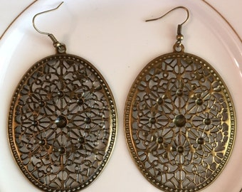 Bronze Filagree Earrings
